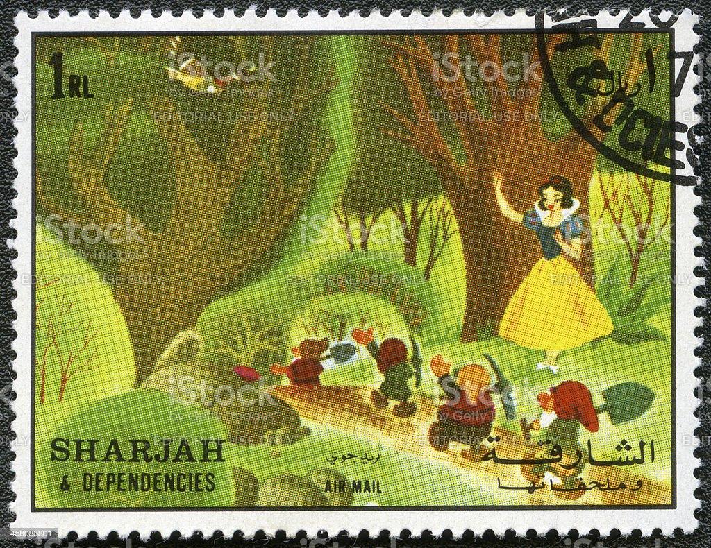 Sharjah & Dependencies 1972 Blanche-Neige et sept dwarfs Timbre-poste - Photo