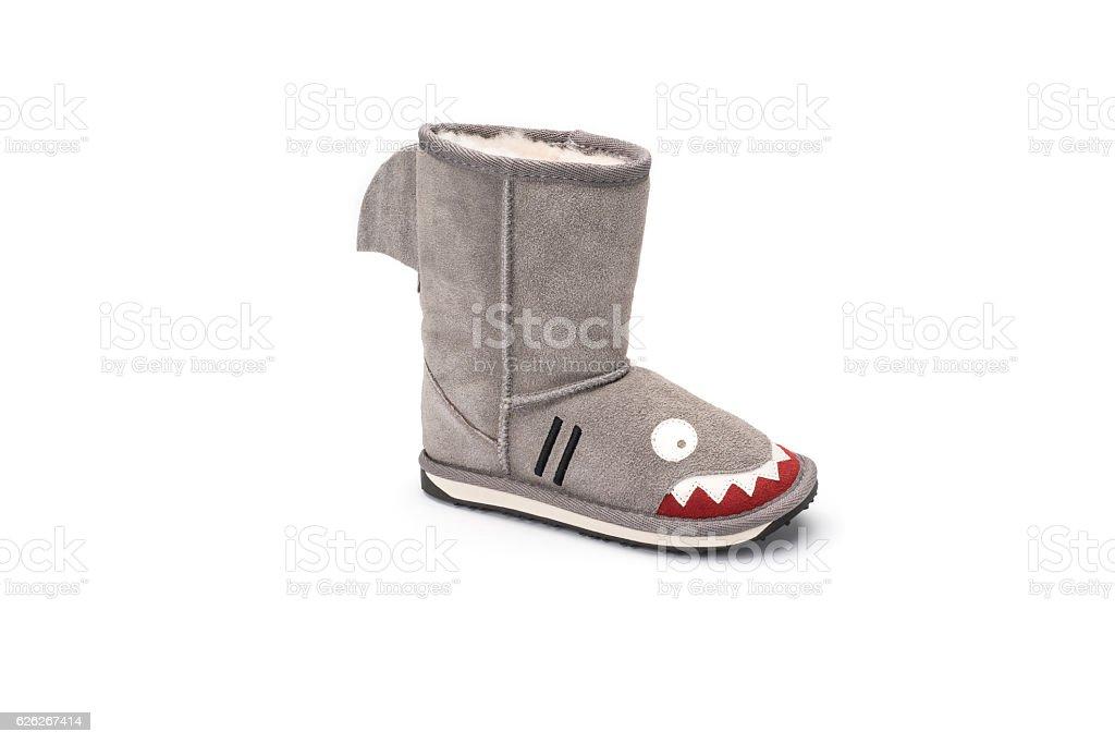 shark design childrens warm boot on white background stock photo