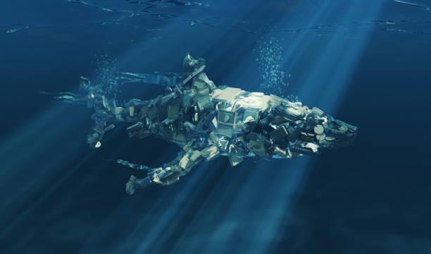 Shark Underwater Made from Plastic Waste stock photo