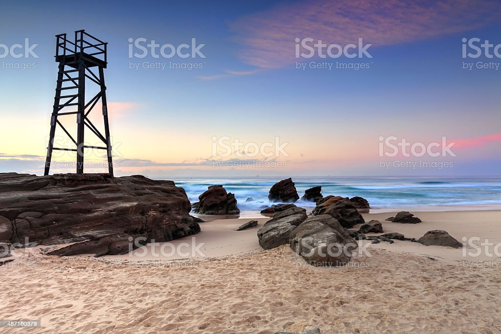 Shark Watch Tower and jagged rocks  Australia stock photo