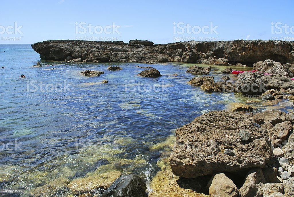 Sharks Cove at the North Shore Oahu. stock photo
