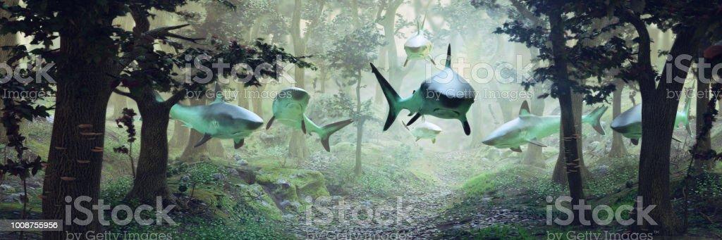 森霧ベクターファンタジー風景シュールを飛んでいるサメのグループとシュールな光景で泳ぐサメの 3 D イラスト バナー 3dのストックフォトや画像を多数ご用意 Istock