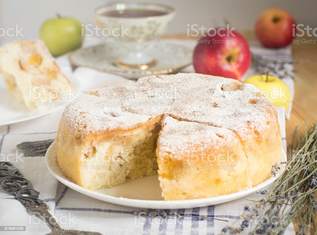 sharlotka apple pie stock photo