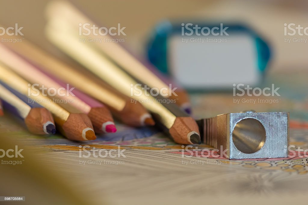 Sharp colorful crayons grouped as a bunch stock photo