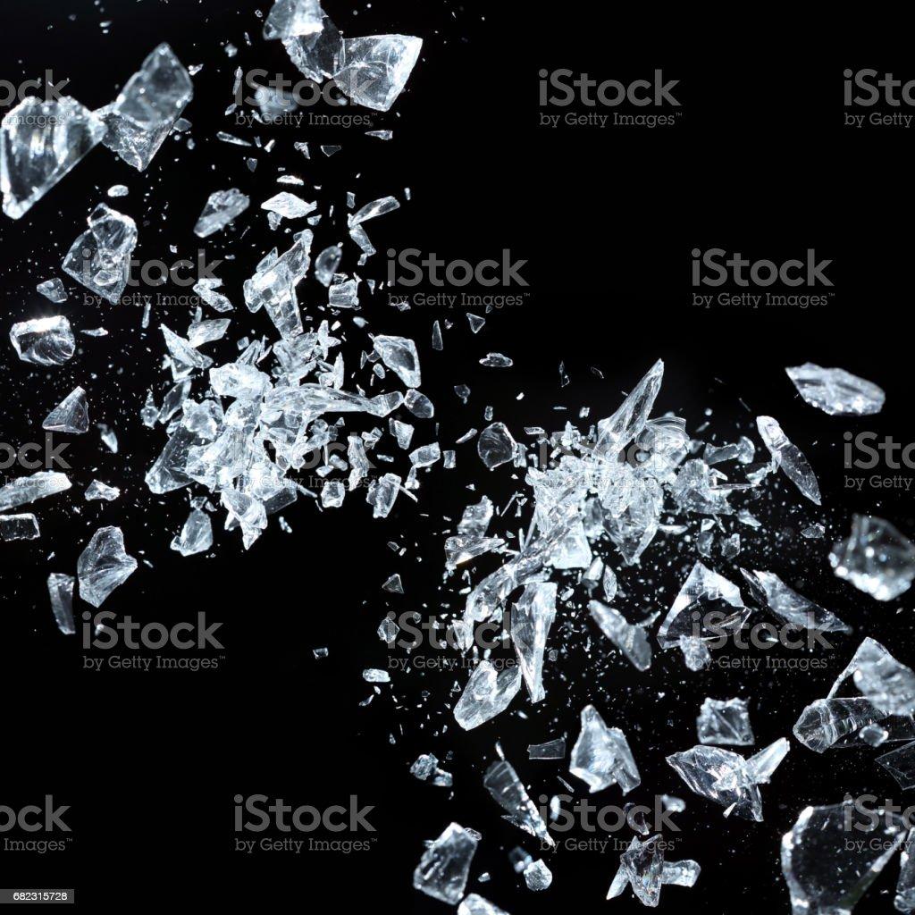 Sharp fragments of broken crystal stock photo