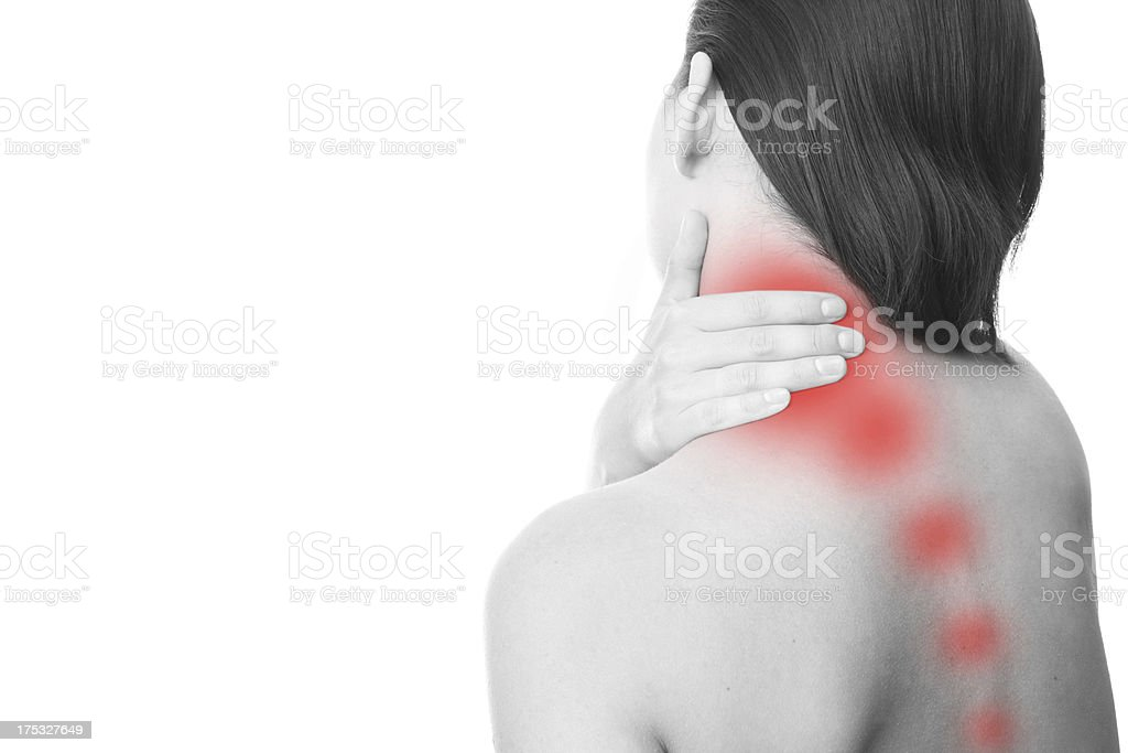 Sharp pain in a woman neck royalty-free stock photo