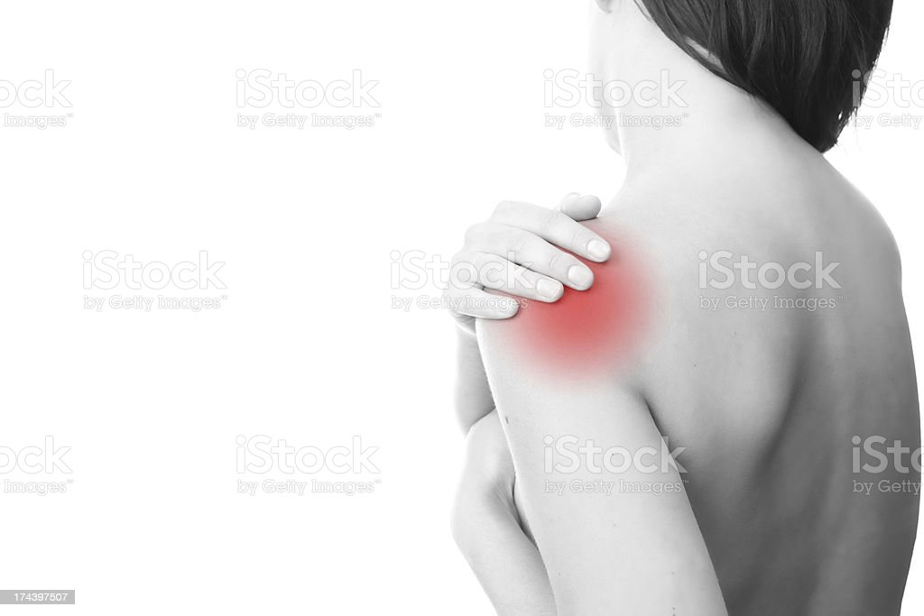 Sharp pain in shoulder royalty-free stock photo