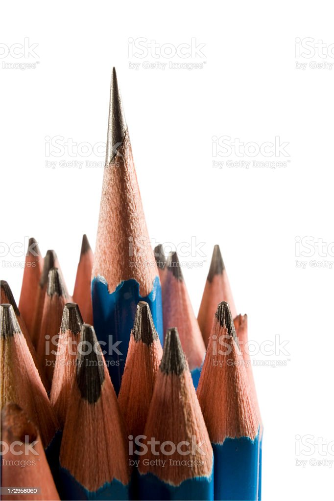 Sharp pencil standing proud of blunt ones, clipping path included. stock photo
