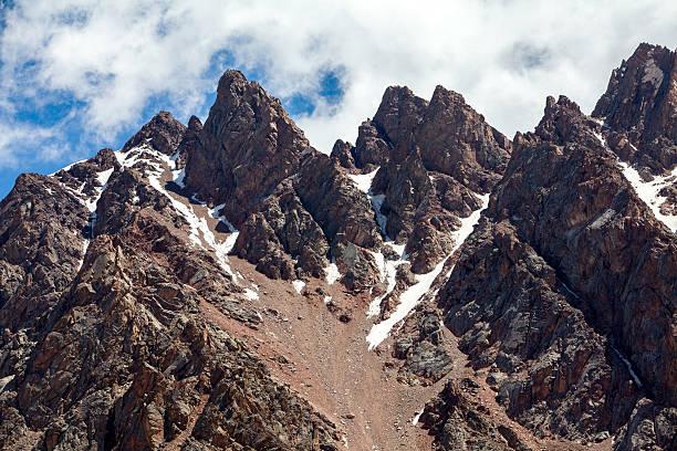 Sharp red mountain peaks. Tien Shan stock photo