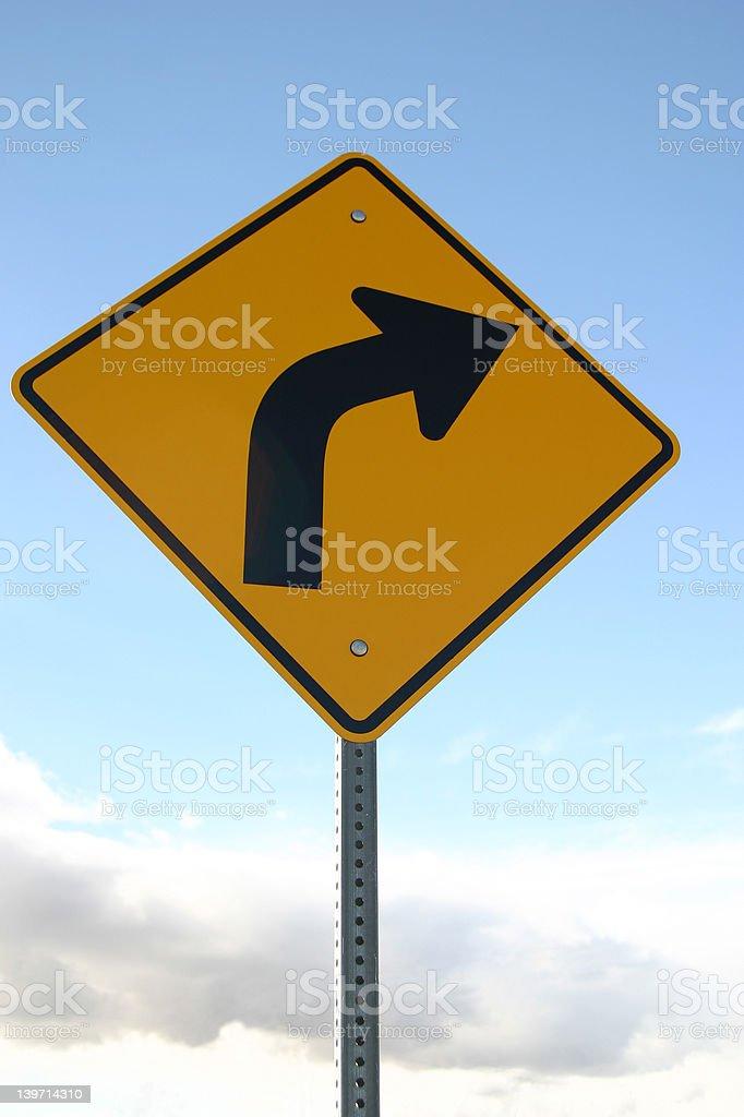 Sharp Right Turn Sign royalty-free stock photo