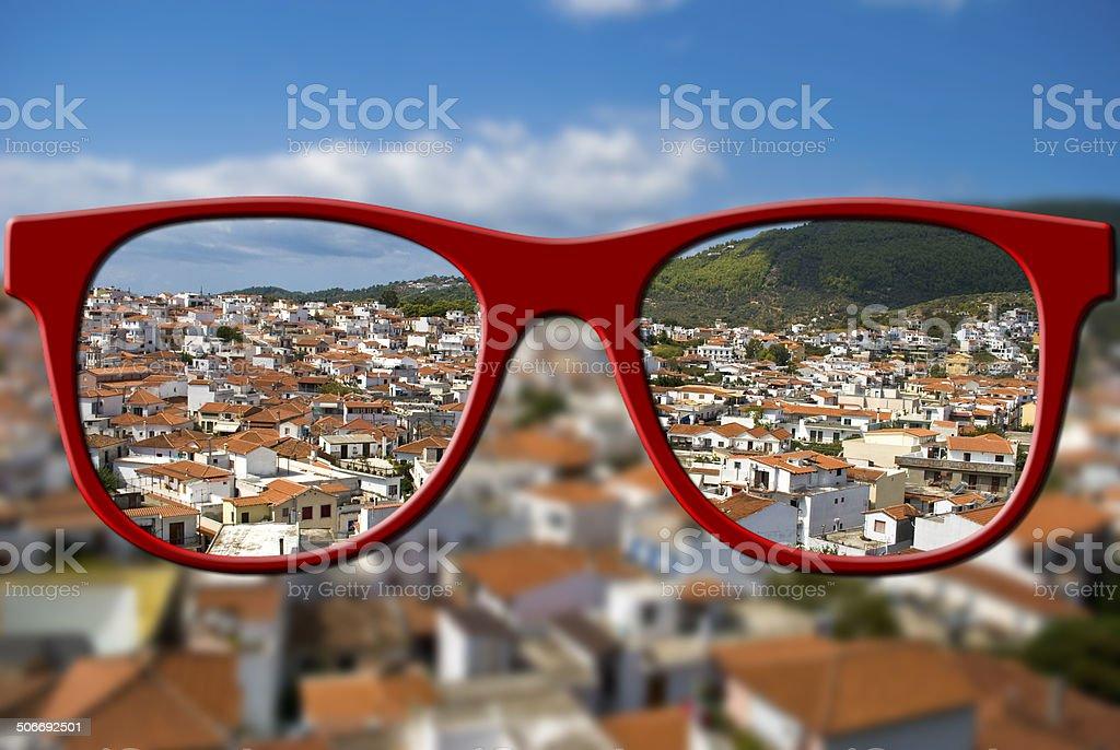 Sharp sight concept. Blurred and sharpen eyesight. stock photo