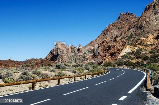 Sharp turn of the mountain road. Teide National Park, Tenerife, Canary Islands, Spain.