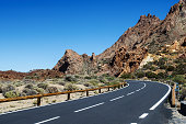 Sharp turn of the mountain road. Teide National Park, Tenerife, Canary Islands, Spain.