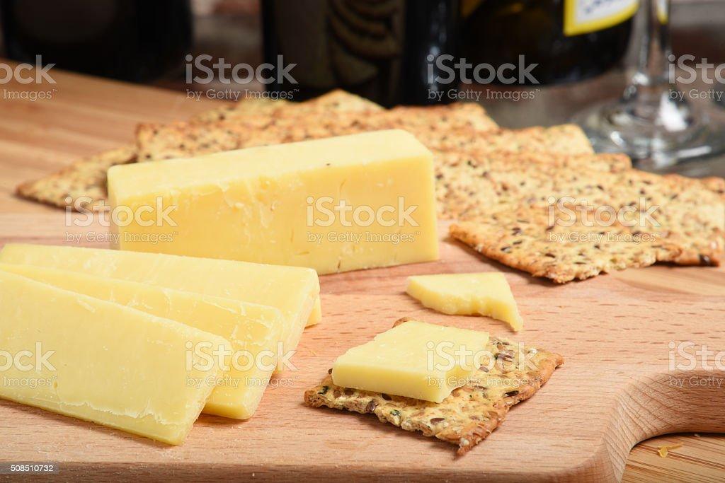 Sharp white cheddar cheese stock photo
