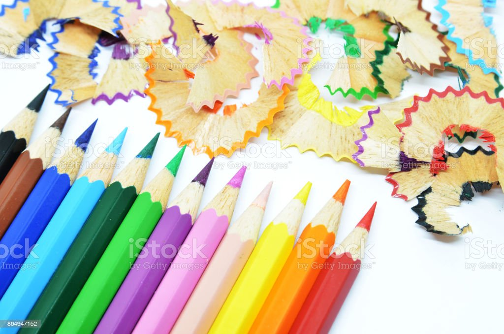 Sharpened Color Pencil And Wood Shavings Stock Photo & More