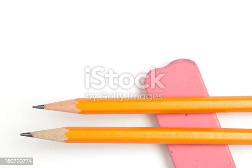 istock Sharpened Pencils and Pink Eraser 180720774