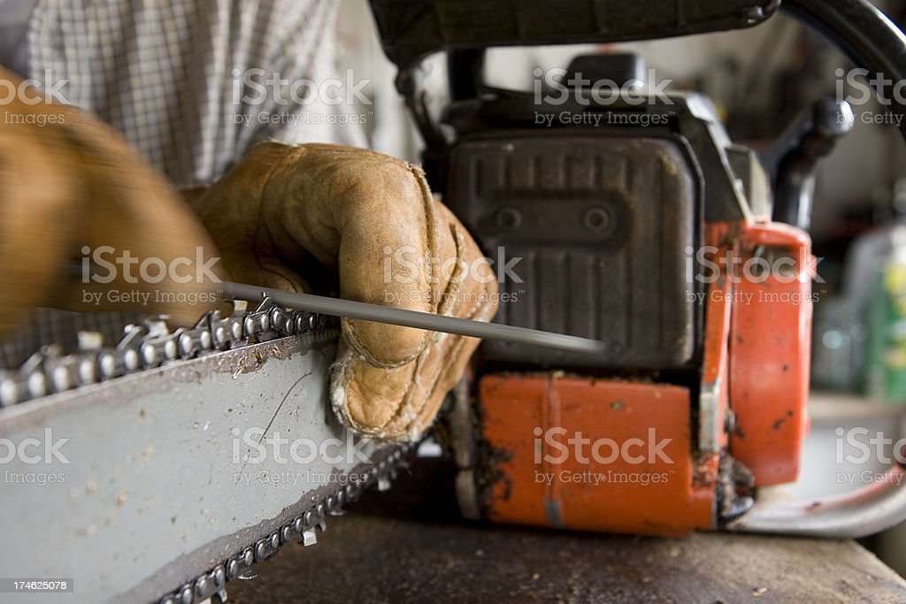 Sharpening a chainsaw royalty-free stock photo