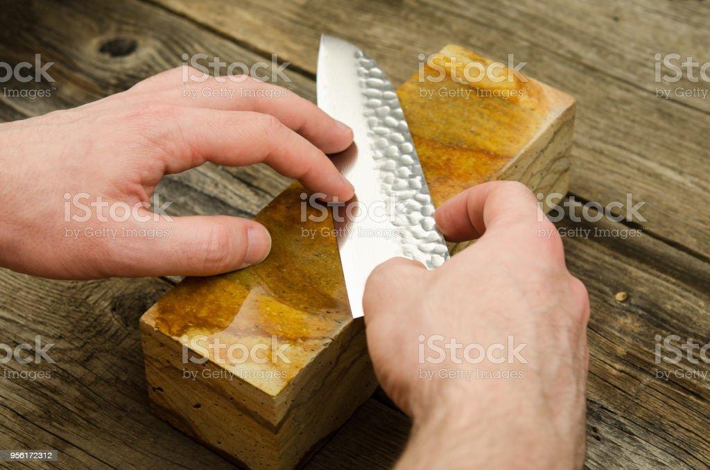 Japanisches Messer Mit Schleifstein Scharfen Santoku Messer Scharfen