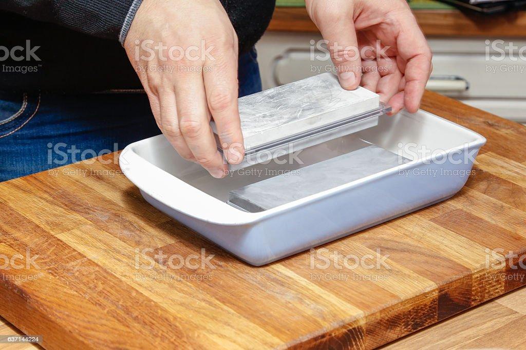 Sharpening preparation. stock photo