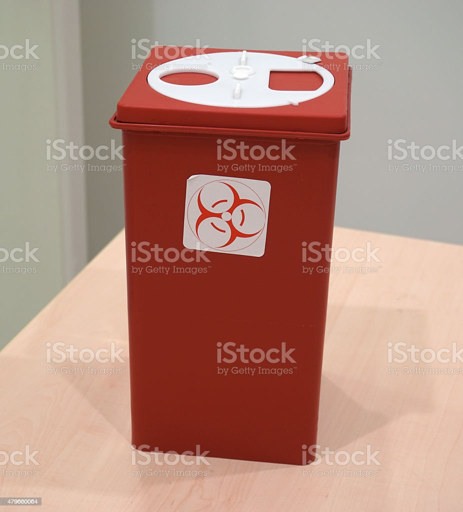 Sharps collector container on the table stock photo