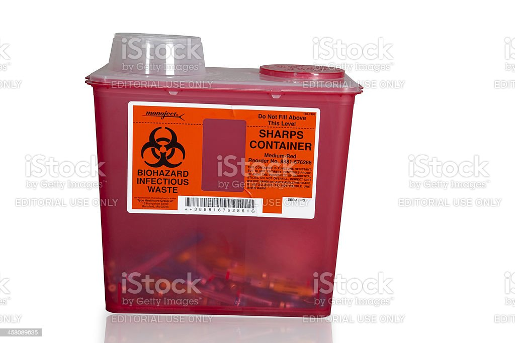 sharps container stock photo
