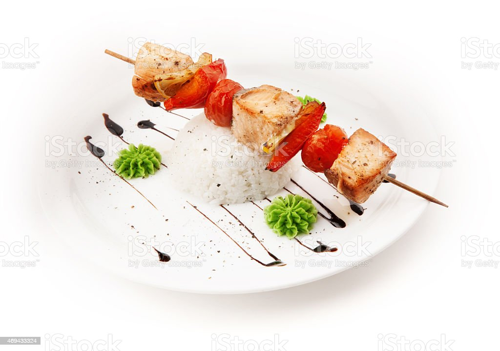 shashlik from meat, paprika and tomato stock photo