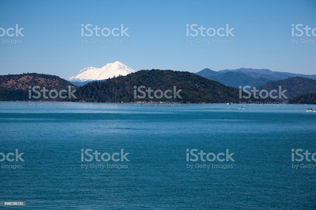 Shasta Lake and Mountain stock photo