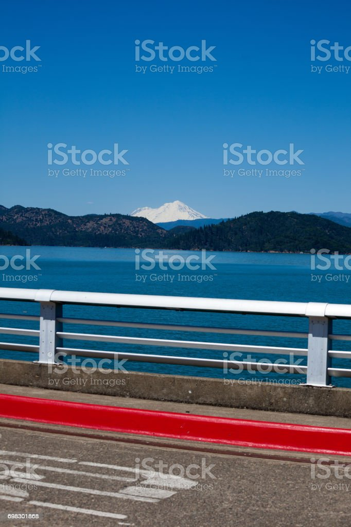 Shasta Lake and Mountain View from top of a Dam stock photo