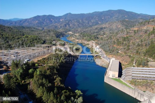 Shasta Lake Dam Power Plant Stock Photo & More Pictures of Blue