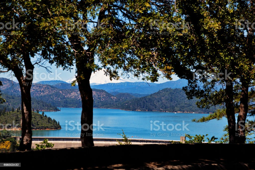 Shasta Lake View from above stock photo