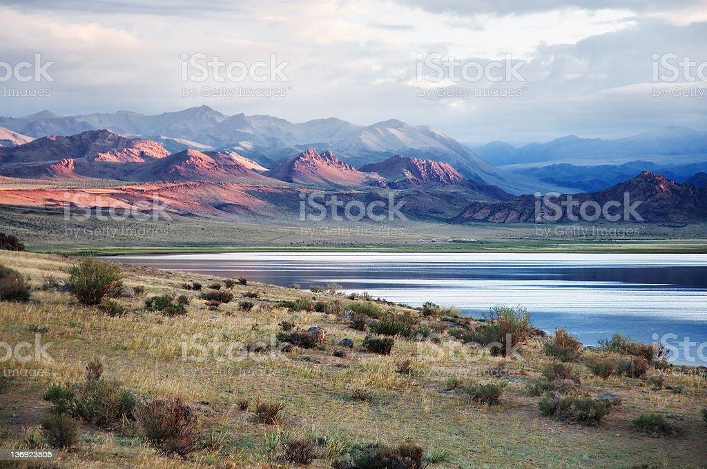 Shatsagay nuur lake in mongolia stock photo
