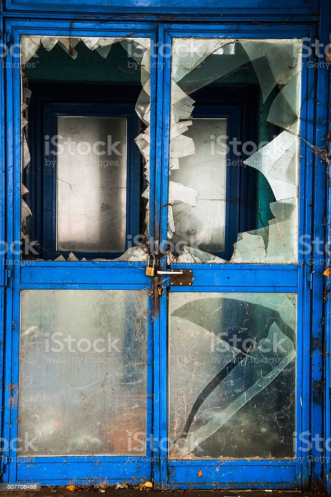 Shattered Glass Door Stock Photo More Pictures Of Abandoned Istock