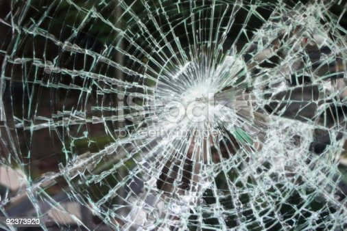 istock Shattered glass from heavy accident 92373920
