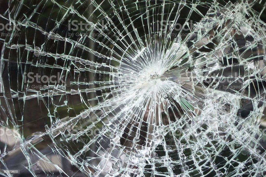Shattered glass from heavy accident stock photo