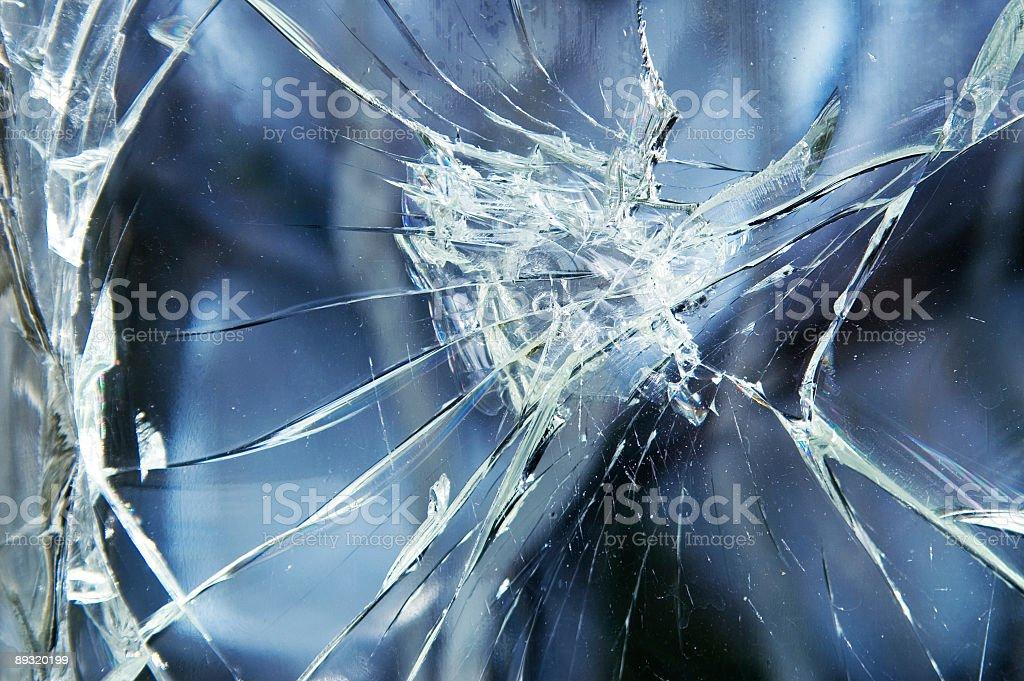 Shattered glass pane needing repair royalty-free stock photo