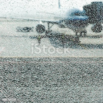 istock Shattered glass window 588254078