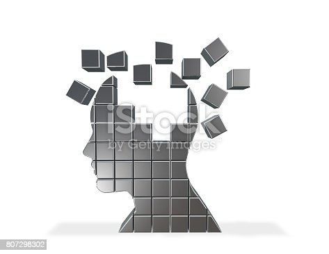 istock 3D shattered head made of cubes, memory loss abstract concept. 807298302