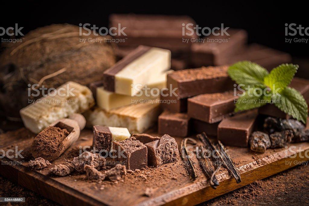 Shattered homemade chocolate stock photo