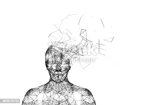istock Shattered human head isolated on white. Artificial intelligence in futuristic technology concept, 3d illustration 965576752