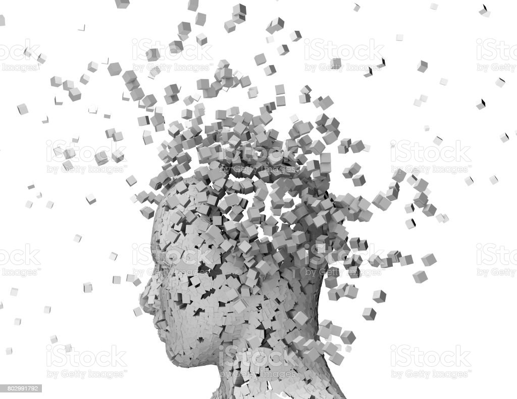Shattered oerson head, stress and headache abstract idea. stock photo