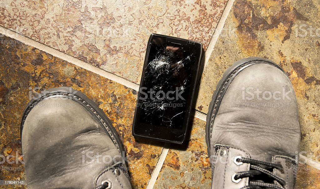 Shattered Smartphone stock photo