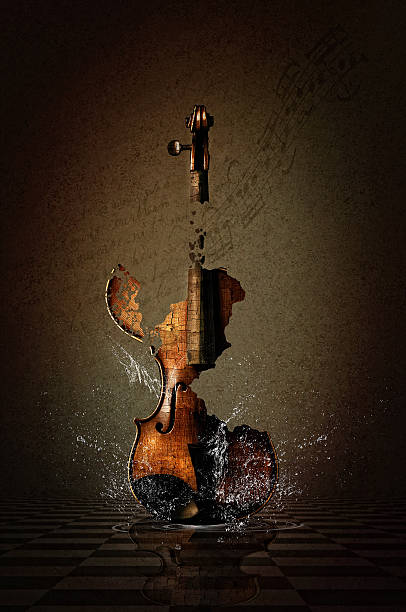 shattered violin with water - classical stock photos and pictures