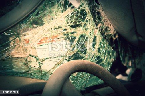 istock Shattered windshield after car crash. Vehicle accident. Broken glass. 170512811