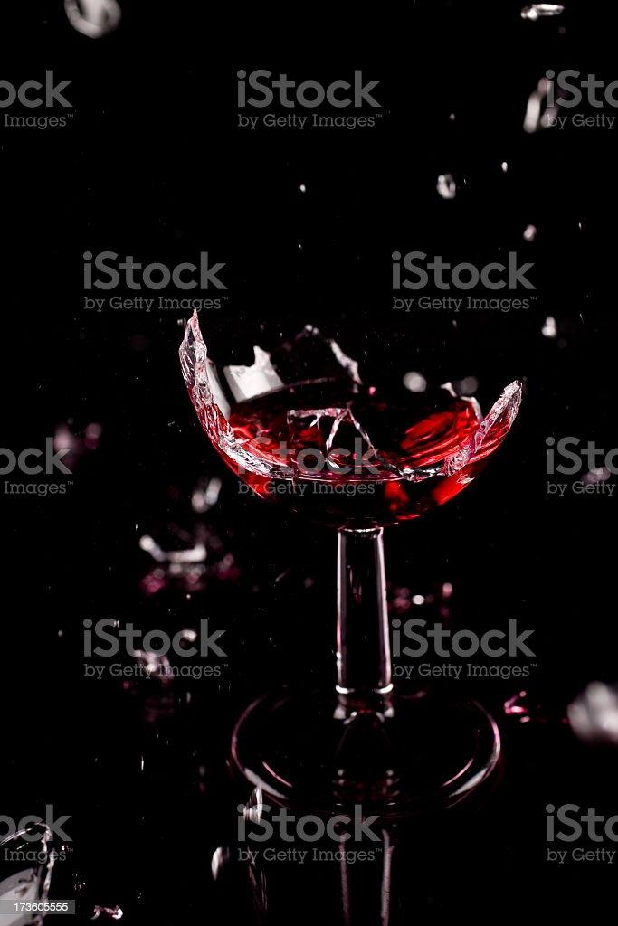 Shattered wine glass stock photo