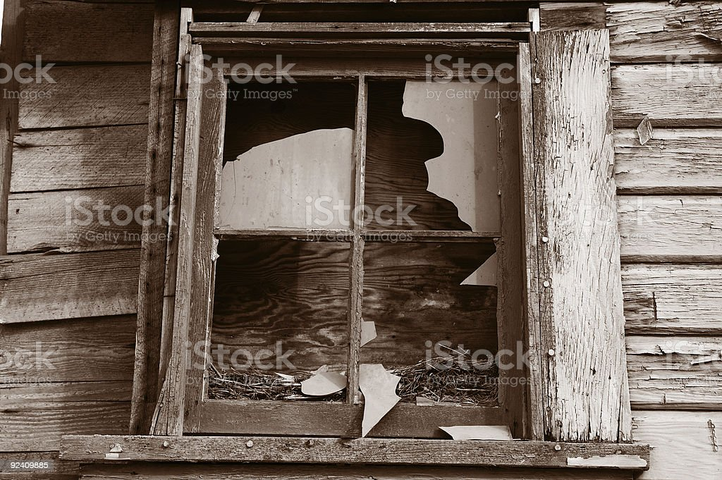 Shattered Wood-Frame Window royalty-free stock photo