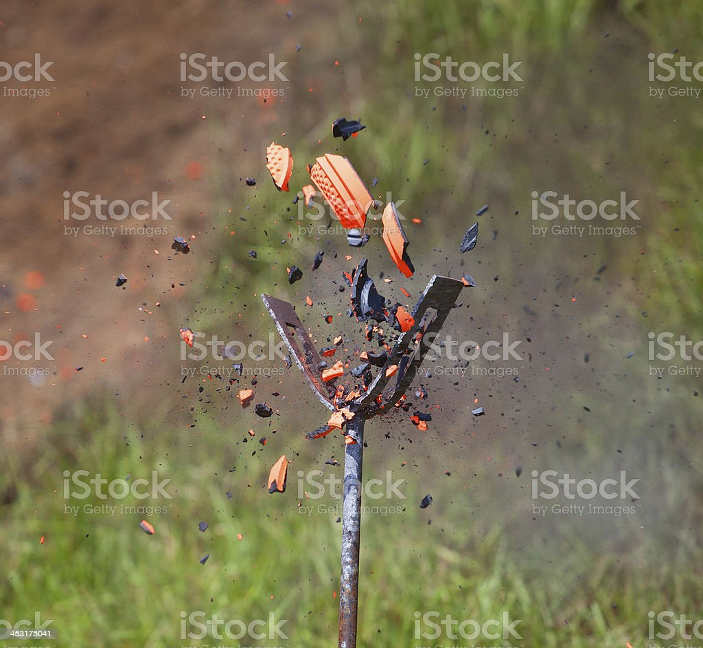 Shattering clay stock photo