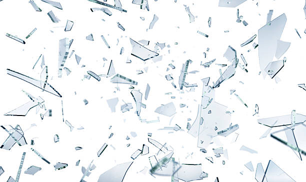 Shattering glass pieces on white - foto de stock