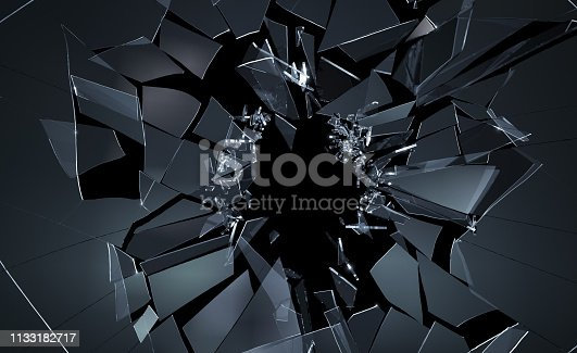 Shattering cracked glass on black background. 3D generated image.