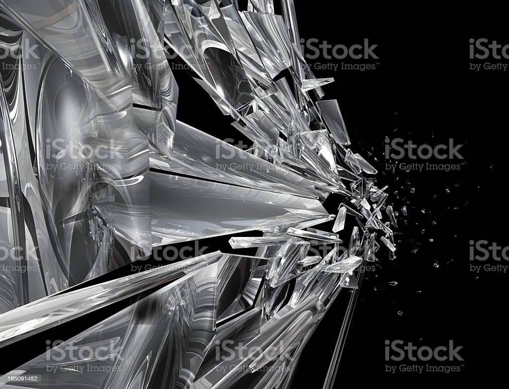 Shattering window side royalty-free stock photo