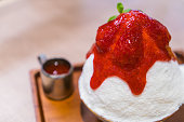 Shaved Ice Dessert with strawberry